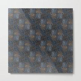 Hand Drawn Geometric Square Pattern Design - Navy Blue Metal Print