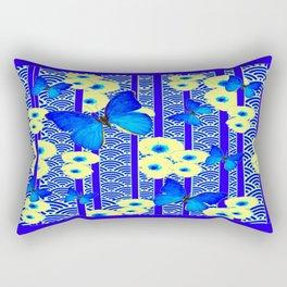 Blue Butterflies Cream-Blue Asia Style Modern Art Rectangular Pillow