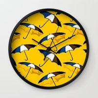 umbrella Wall Clocks featuring Umbrella  by Saundra Myles