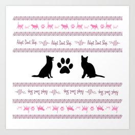 Adopt. Dont. Shop. Christmas Sweater Art Print