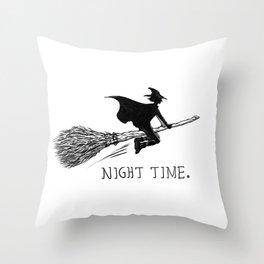 NIGHT TIME. Throw Pillow