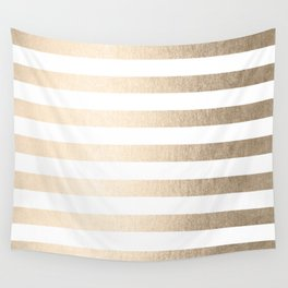 Simply Striped in White Gold Sands Wall Tapestry