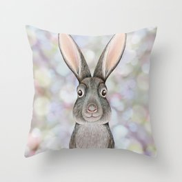 rabbit woodland animal portrait Throw Pillow