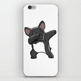 Funny Black French Bulldog Dabbing iPhone Skin