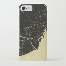 Barcelona Black and Gold Map iPhone Case