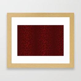 Blood Red Shadowed Leopard Print Framed Art Print