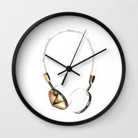 headphones Wall Clocks featuring Headphones by kristinesarleyart