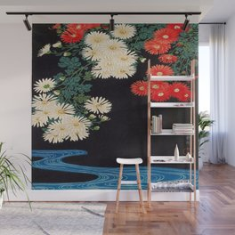 Ohara Koson Chrysanthemums and Running Water 1931 Japanese Woodblock Print Vintage Historical Wall Mural