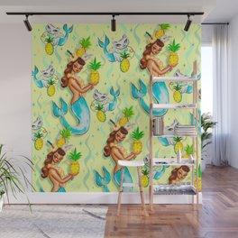Tropical Pineapple Mermaid with Merkitties Wall Mural