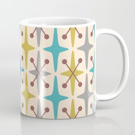 Mid Century Modern Abstract Star Pattern 441 Gray Brown Turquoise Olive Green Coffee Mug