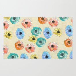 Hand painted coloful flowers Rug
