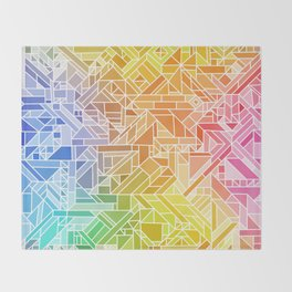 Bright Gradient (Hot Pink Orange Green Yellow Blue) Geometric Pattern Print Throw Blanket