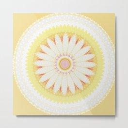 Sunshine Yellow Flower Mandala Abstract Metal Print