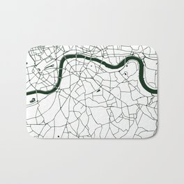 London White on Green Street Map Bath Mat