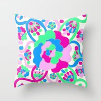 """beth hoeckel Throw Pillows featuring """"Beth"""" by Ma'at Silk"""