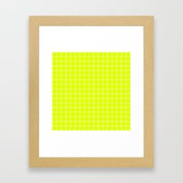 Chartreuse (traditional) - green color - White Lines Grid Pattern Framed Art Print