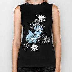 Summer blossom, brown and blue pattern Biker Tank