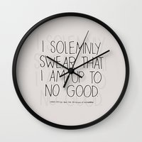 harry potter Wall Clocks featuring Harry Potter Quote #1 by Marcela Caraballo