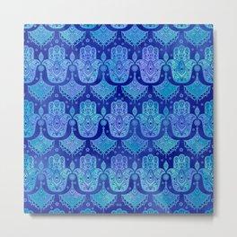 Hamsa Hand Pattern Blue watercolor Metal Print