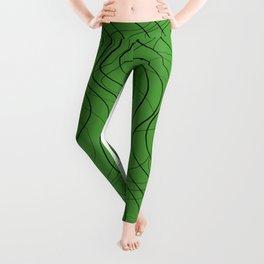 Waves Lines Green Leggings
