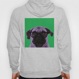 Geek Pug with Glasses in Green Background Hoody