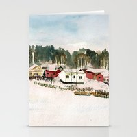 finland Stationery Cards featuring Finland village by Nadezhda Shoshina