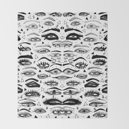 All Eyez on Me- Black and White Ink Drawing Throw Blanket