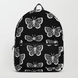 4c6aad7b28 Linocut butterflies carving black and white minimal animal nature insects  botanical pattern Backpack