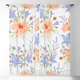 Watercolor Orange Chamomile Flower Blooms & Bluebell Blooms on White Blackout Curtain