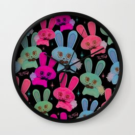 Cute Bunnies on Black Wall Clock