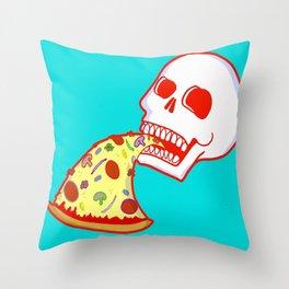 Pizza Skull - Aqua Throw Pillow