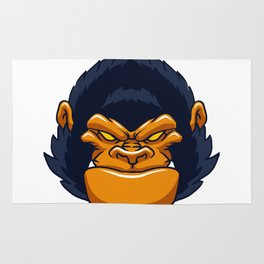 angry ape gorilla face Rug
