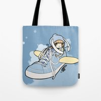 sneaker Tote Bags featuring Sneaker ridin' by catamariii