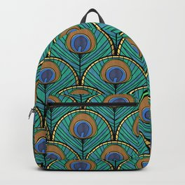 Glitzy Peacock Feathers Backpack