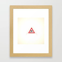 slippery road sign Framed Art Print