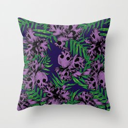 Orchid Skulls Throw Pillow