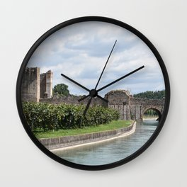 Scenic view of the Visconti bridge with vineyards Wall Clock