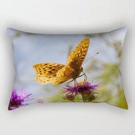 Butterfly and Asters Closeup Rectangular Pillow