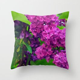 484 - Purple and Magenta Lilacs Throw Pillow