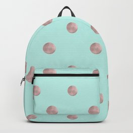 Happy Polka Dots Rose Gold on Mint #1 #decor #art #society6 Backpack