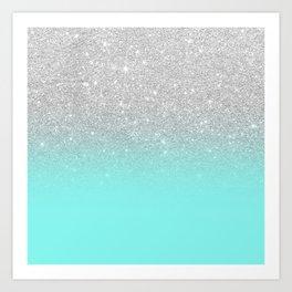 Modern girly faux silver glitter ombre teal ocean color bock Art Print