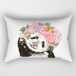 Baby Panda with Flowers Crown Rectangular Pillow