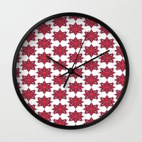 Flowery Red Wall Clock
