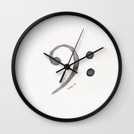 Bass Clef Ink Wash Wall Clock
