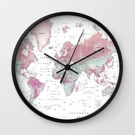 World Map Wall Art [Pink Hues] Wall Clock