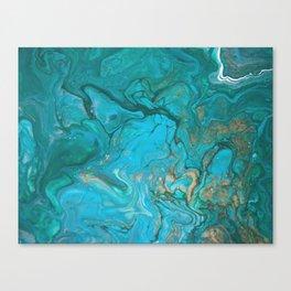Fluid Nature - Malachite Flows - Acrylic Pour Art Canvas Print
