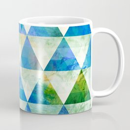Modern Blue & Green Geometric Triangle Design Coffee Mug