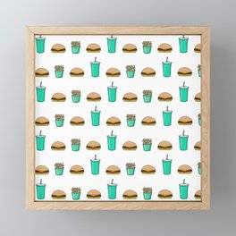 burger with fries and a drink pattern Framed Mini Art Print
