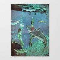 sharks Canvas Prints featuring Sharks by Ben Giles