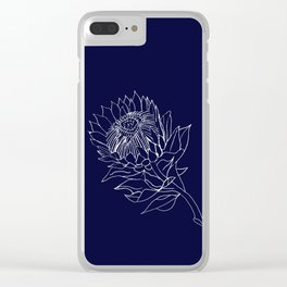 King Protea Outline - Navy and White Clear iPhone Case